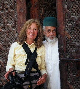 Rosemary and a Moroccan man in traditional dress