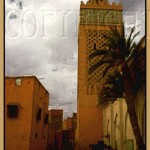 Stylized depiction of Marrakesh medina