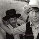 portrait of Amish brothers with horse