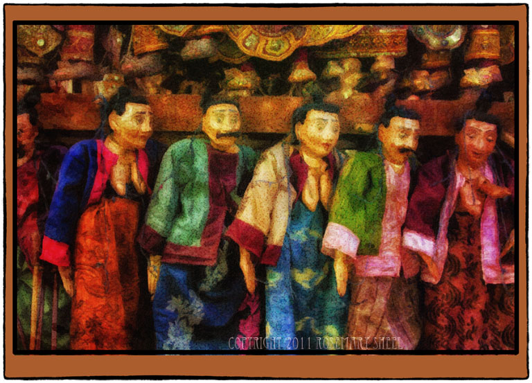 Naive digital painting of Myanmar Puppets
