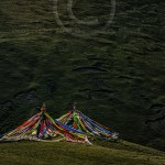 Tibetan Landscape with Prayer Flags