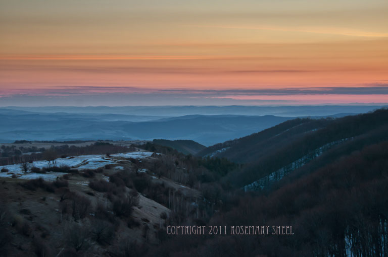 Romanian landscape: Dawn, Mountains and snow