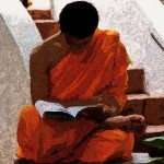 graphic depiction of monk studying