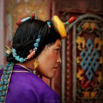 Portrait of Tibetan Woman with Hair Ornaments