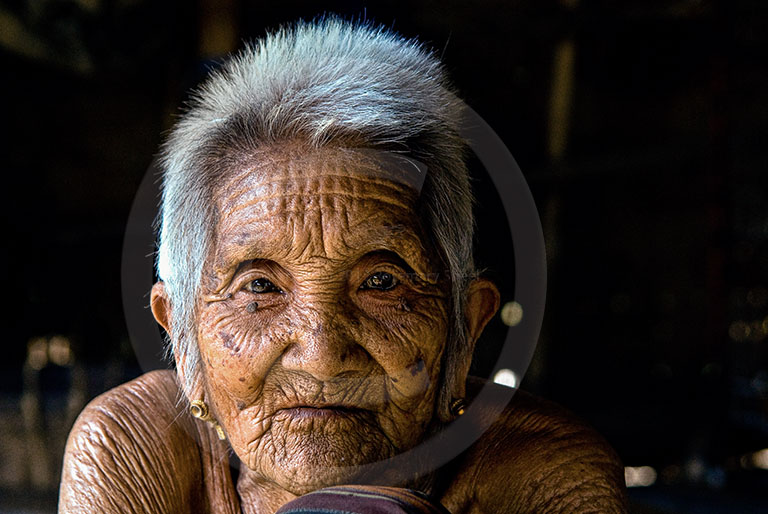 Laos village Grandma portrait