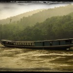vintage photo of junk on Mekong River
