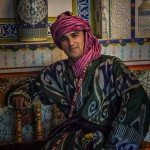 Portrait of an Uzbek: a young uzbek man dressed in traditional clothing