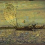 Boat on the Niger River with Billowing Sail