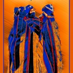poster with digital art photo of Ait Haddou women