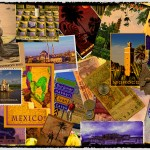 collage poster depicting world wide travels