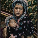 retro color portrait of Hmong girl and child