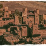 Landscape of the ancient Berber Kasbah of Ait Ben Haddou with it's multiple towers and castle like structure.