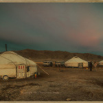 landscape: dawn in western Mongolia, showing typical tent-like dwelling called a ger