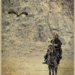Mongolia: a Kazakh Eagle Hunter entices his Golden Eagle with fresh meat